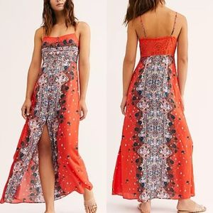 Free People Morning Song Printed Maxi Slip Dress S